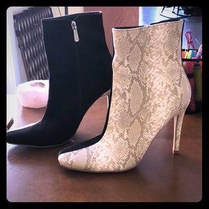 Black/snake skin bootie heels